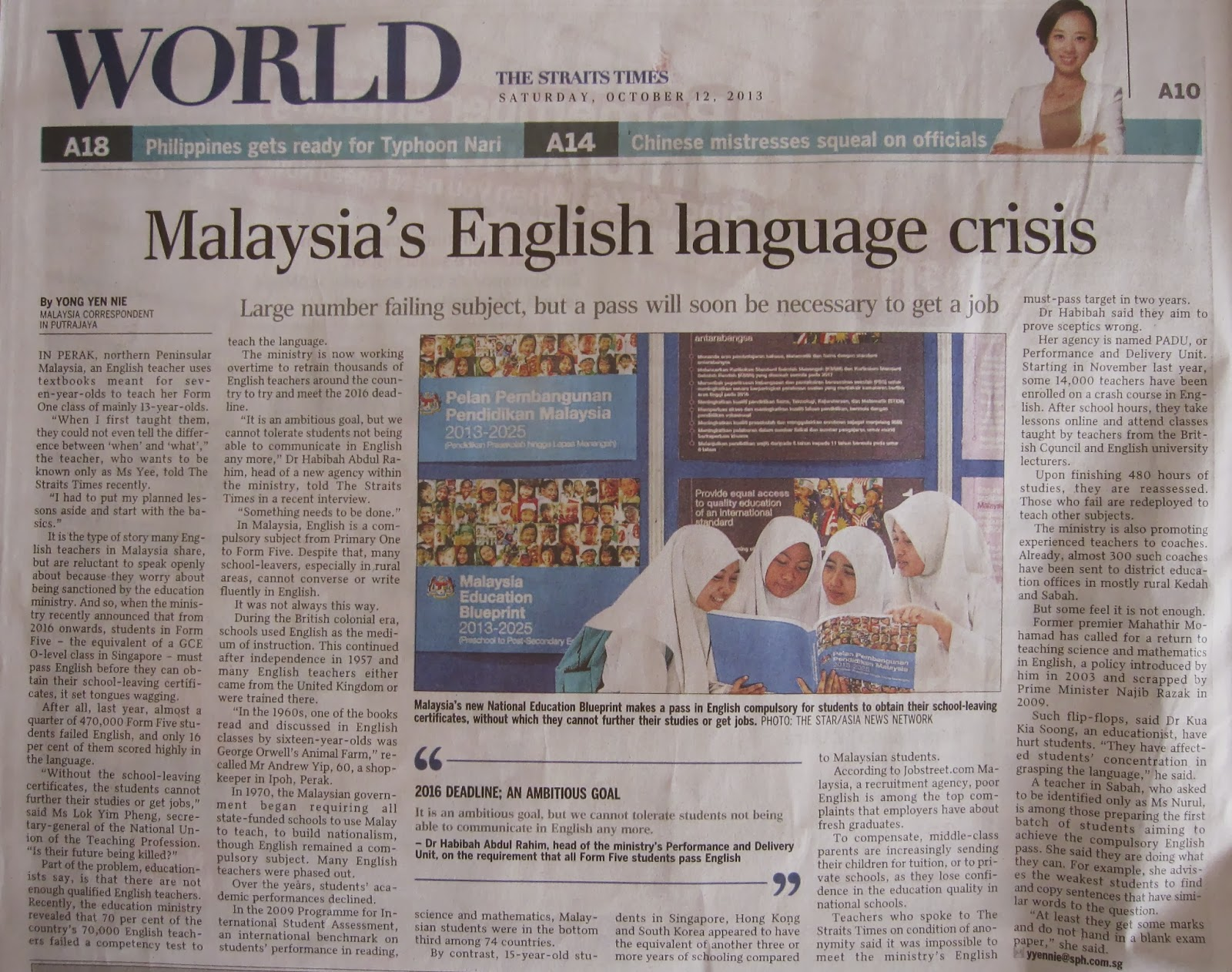 cause of decline in english proficiency in malaysia Been a continual decline in english proficiency among school leavers a contributing factor to this is the fact that a pass in english is not compulsory in any of the major public examinations.