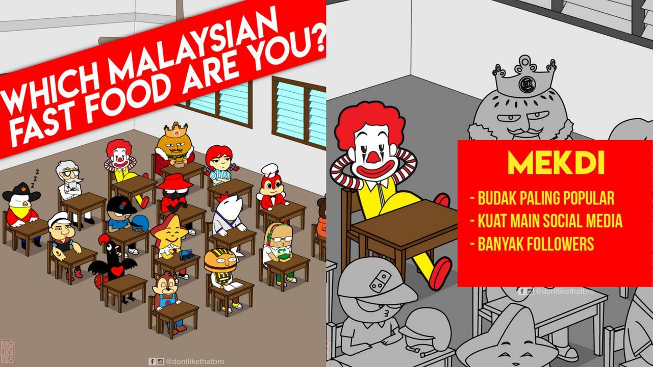 Ernest Ng S Drawings Of M Sian Fast Food Chains As Classmates Are