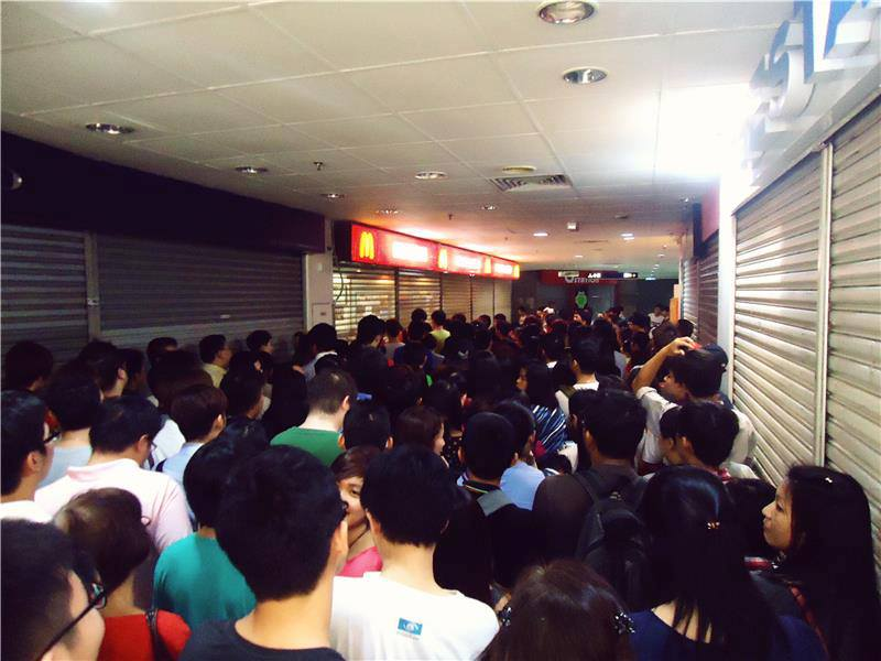 Customers queuing up outside McDonald's in Penang.