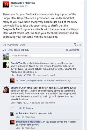 Malaysians take to Facebook to send in their complains regarding the minion toys promotions at McDonald's Malaysia.