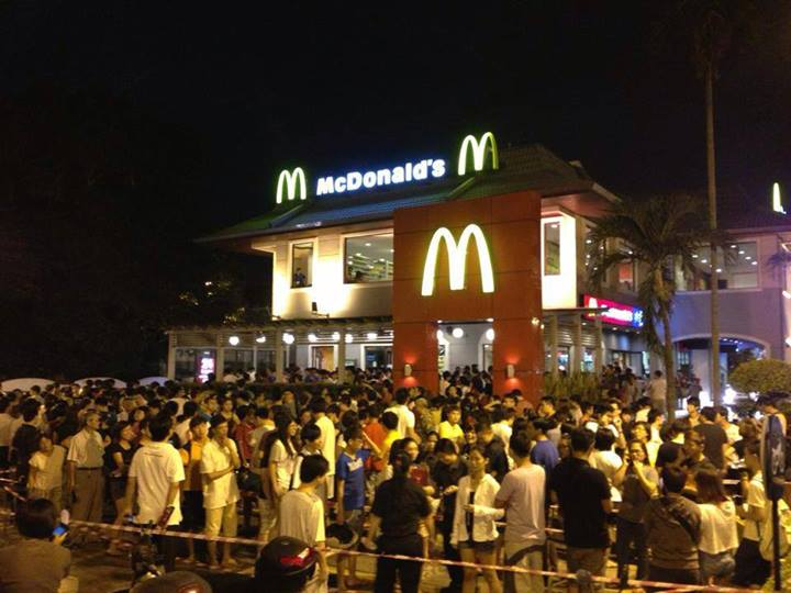 Customers lined up outside McDonald's.