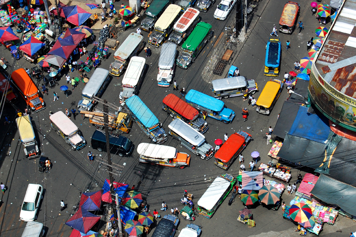 Rush hour in Manila, Philippines.