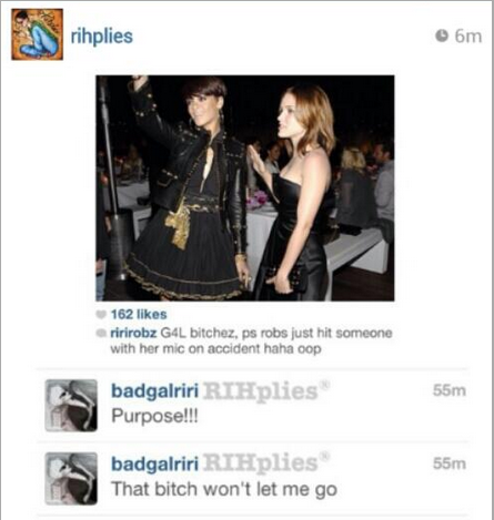 Rihanna replied to a fan's tweet saying she had hit out on purpose. The tweet has now been deleted.