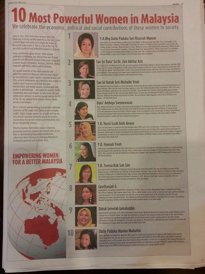"""Rosmah Mansor is number 1 in """"10 Most Powerful Women in Malaysia"""". Found in The Star newspaper, 18th June 2013."""