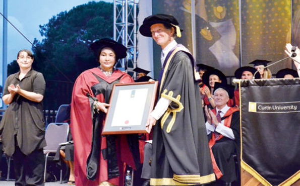 Rosmah Mansor, wife of prime minister, was today conferred the honorary Doctor of Letters degree by Australia's Curtin University in recognition of her efforts in the development of education, particularly children's education through the Permata Negara programme.