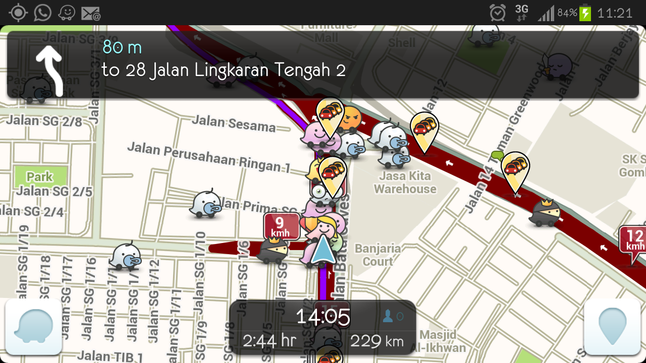 A screenshot of the application Waze.