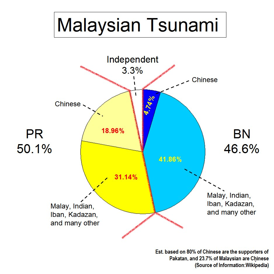 """""""Najib Razak claim that """"Chinese Tsunami"""" is the reason of BN got a worse result than the last election. However this statement is totally groundless, as a significant amount of other ethnic group also reject BN government.""""   Photo credit: Weng Tong Ho"""