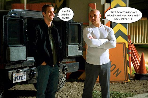 """A meme of Paul Walker and Vin Diesel from """"Fast And The Furious."""""""