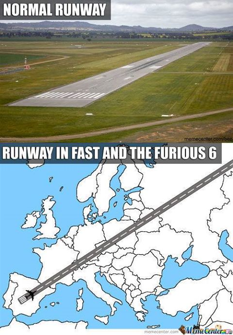 """A meme of the runway in """"Fast & Furious 6."""""""