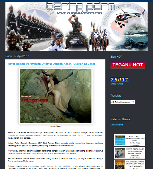The PDRM blog posted a story on the victim's murder, of which a 'gambar hiasan' which was deemed offensive was published together.