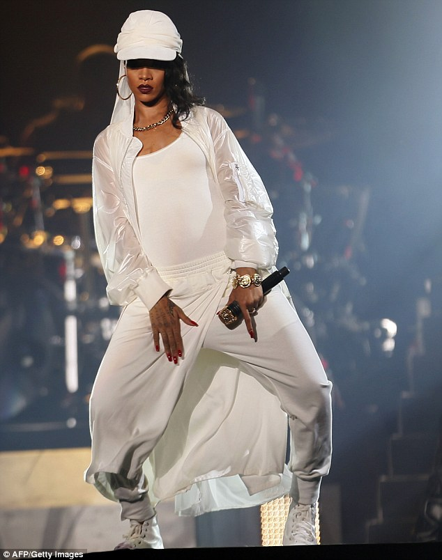 Rihanna performs in concert at Du Arena, Yas Island in Abu Dhabi. Photo from AFP/Getty Images.