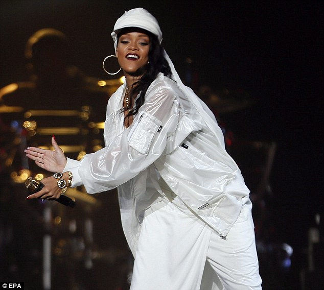 Rihanna performs in concert at Du Arena, Yas Island in Abu Dhabi. Photo from EPA.