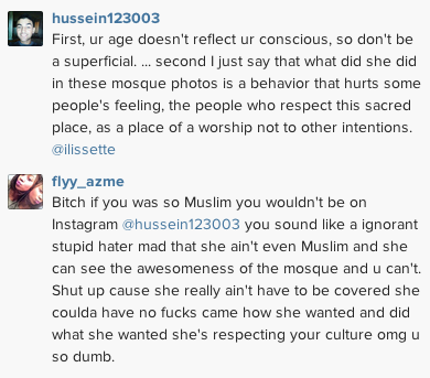 User comments on Rihanna's Instagram photos of her shoot in front of a mosque in UAE.