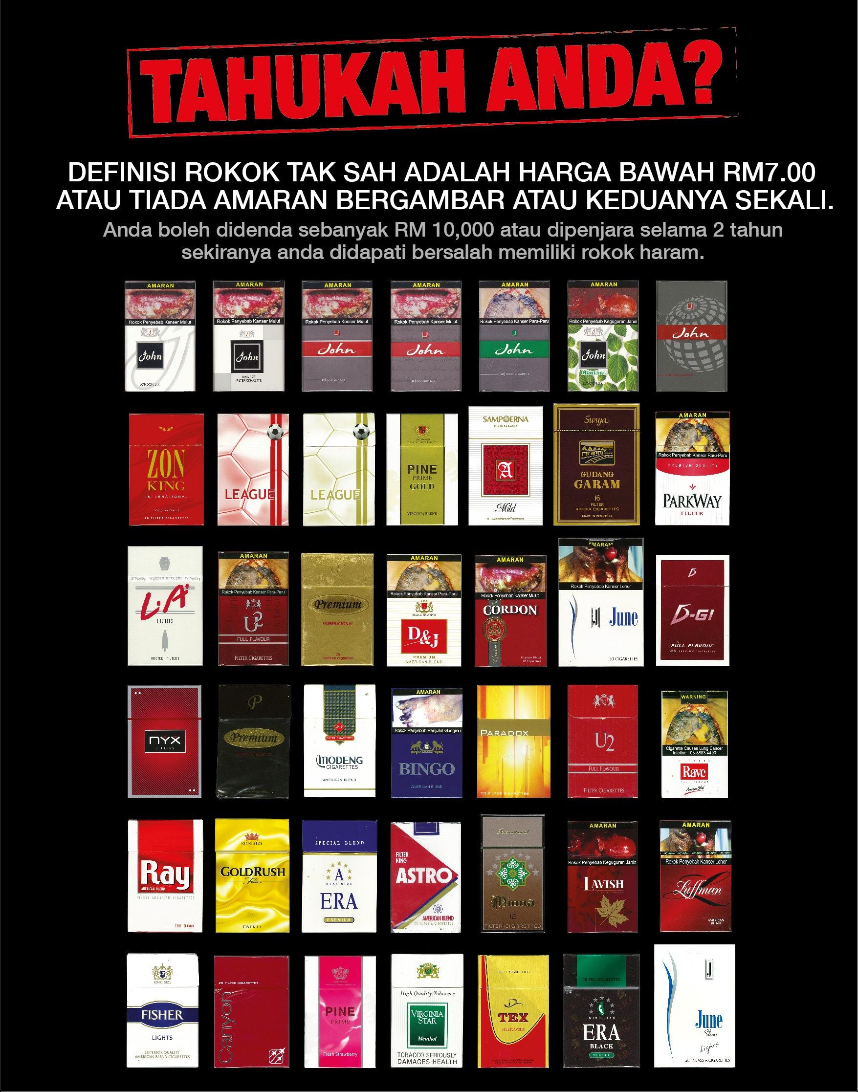Definisi rokok tak sah adalah harga bawah RM7.00 atau tiada amaran bergambar atau keduanya sekali.
