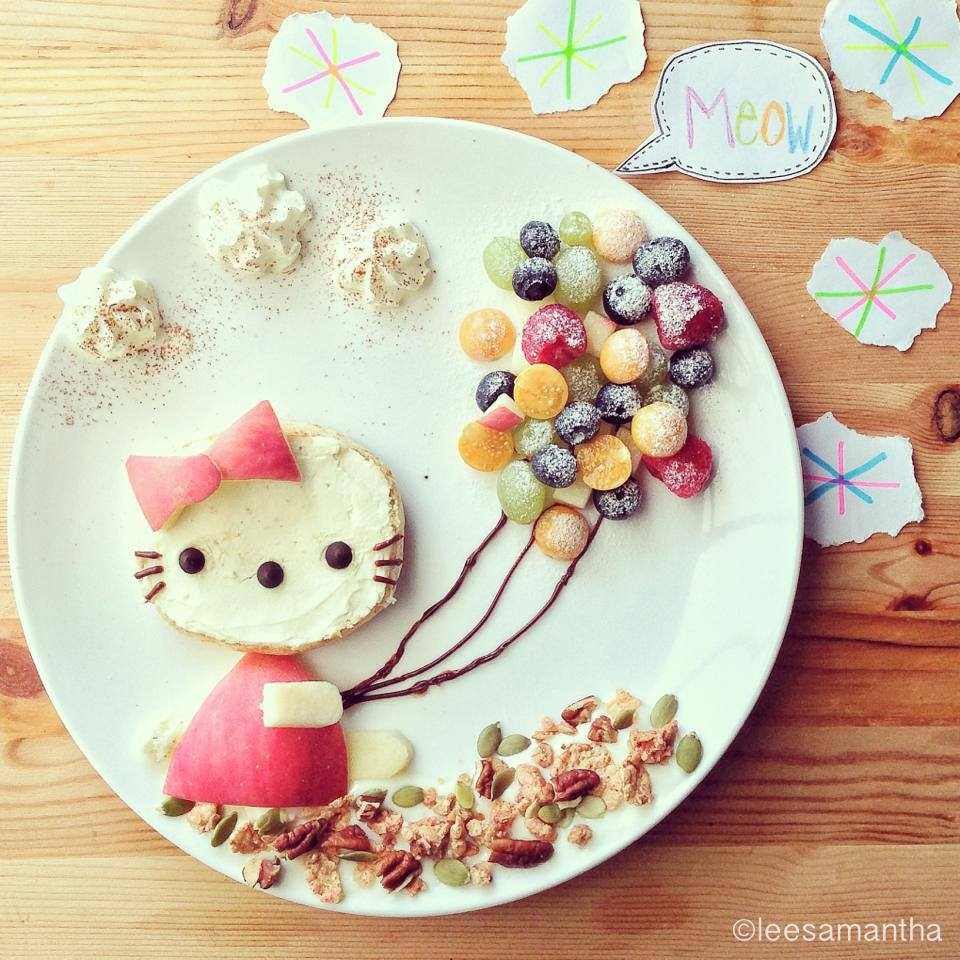 Hello Kitty Kitty Kitty~   Hello Kitty (Harō Kiti)  Forever Summer Series (*^^*) - created July 2013 Instagram @leesamantha - Taken with HTC One  Ingredients: 1. Hello Kitty - Wholemeal bun, halve - Apple - Choc chips - Nutella / Choc fudge ( to draw)  2. Balloons - Variety of berries  3. The clouds  - Whipped cream  4. The ground - Yogurt - Cereals