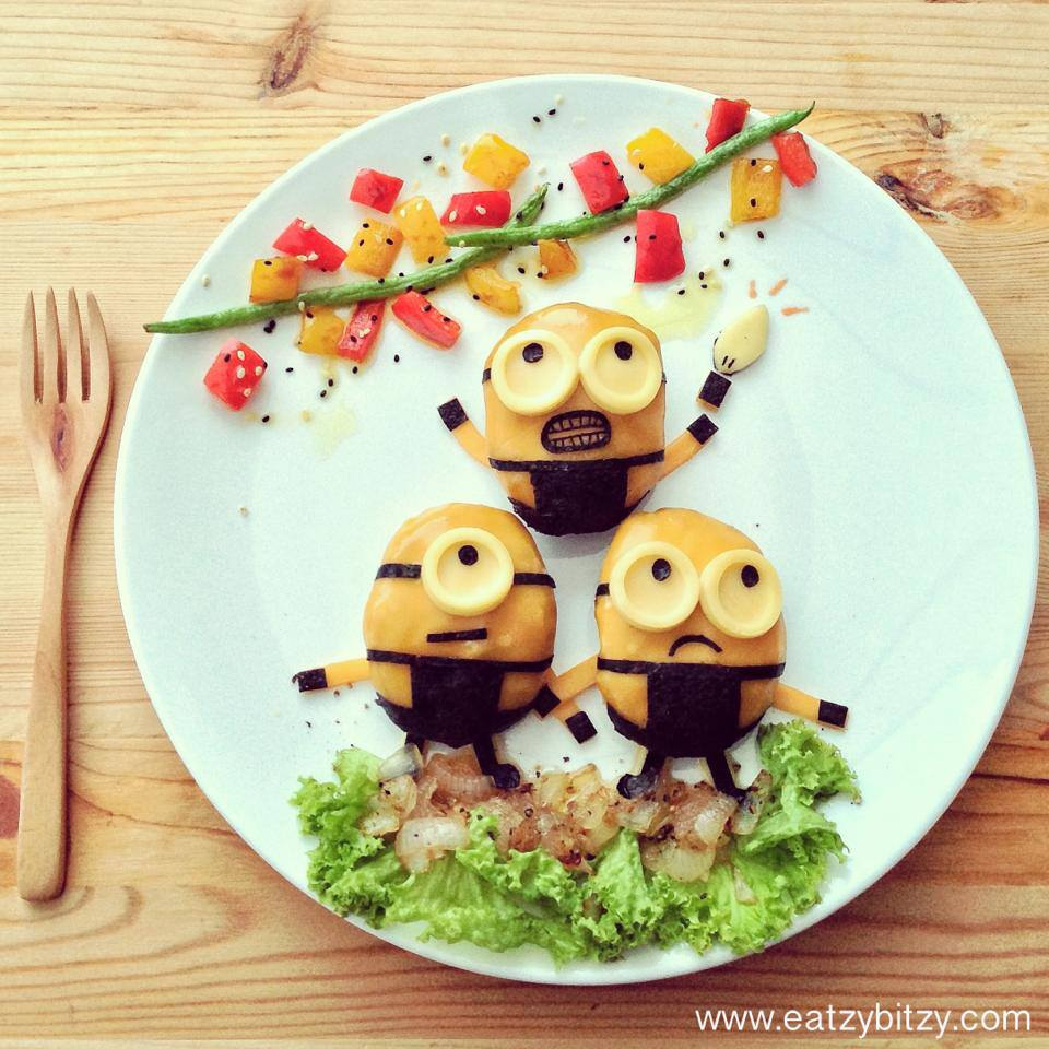 It's Monday! Keep Calm & Eat Minions. Nom nom nom.   - creates July 2013 Instagram @leesamantha - Taken with HTC One   Ingredients  1. Minions - Cheese on meatballs - Cheese slice for goggles  - Nori (seaweed) for black   2. Lightbulbs  - Yellow and Red bell pepper  Ganito na... hop hop hop tayo...okay ikot tara...tumalon. From Lee Samantha Facebook.