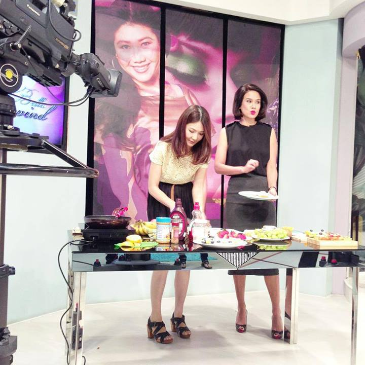 """""""Making kawaii food on Bella ntv7 with the beautiful host, Elaine Daly this morning. """" - Photo from Lee Samantha Facebook."""
