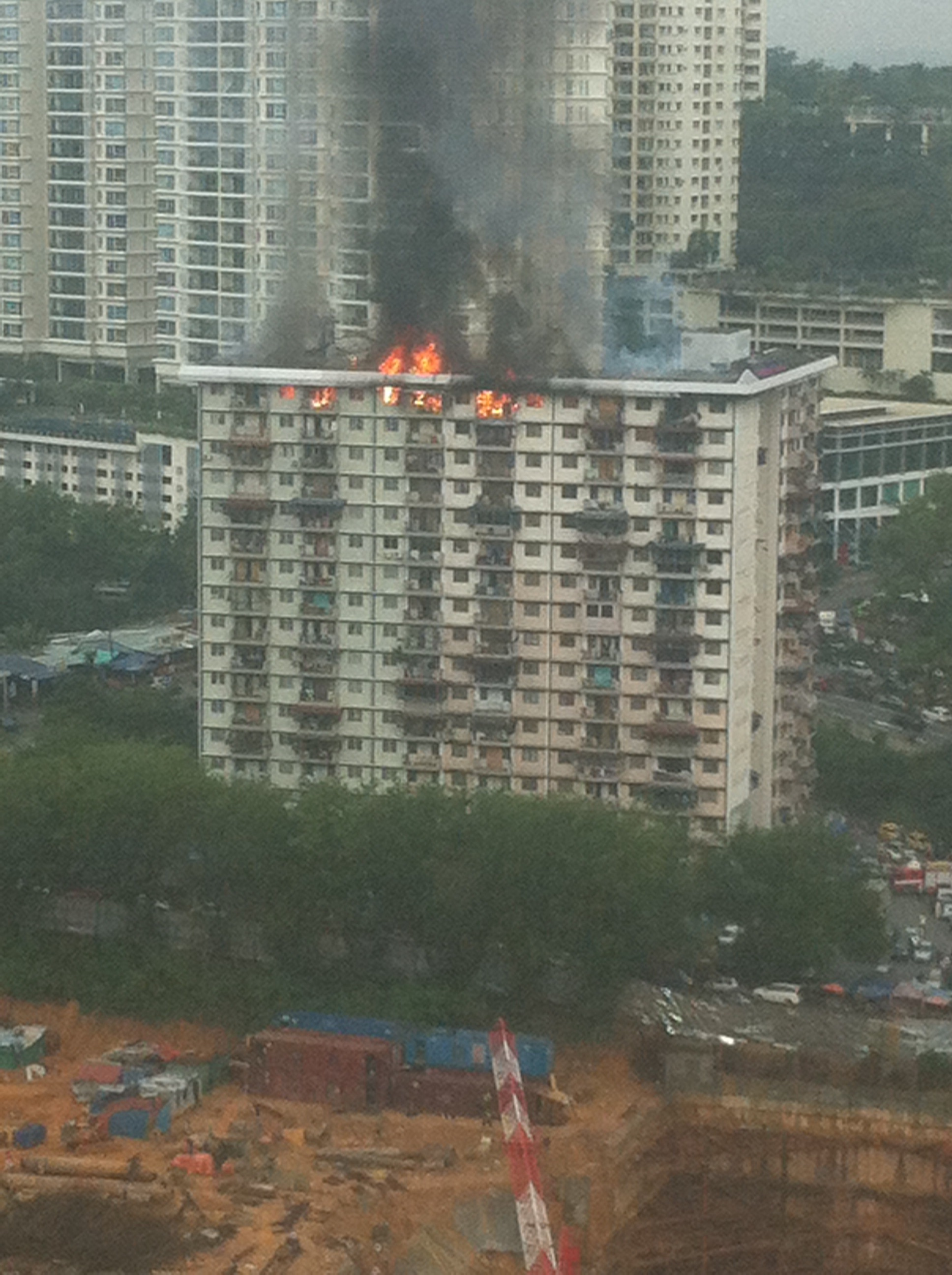 A burning apartment spotted along Federal Highway.