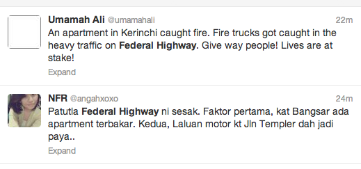 Twitter response to the burning apartment along federal highway.