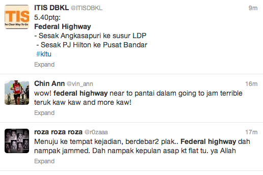 Twitter users respond to the traffic jam on federal highway on 31 Oct 2013 at about 5:44pm.