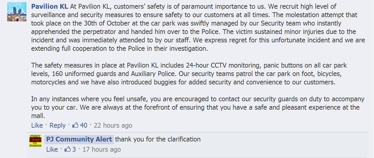 A screengrab of the comment posted by the Pavilion KL on PJ COmmunity Alert's Facebook page.