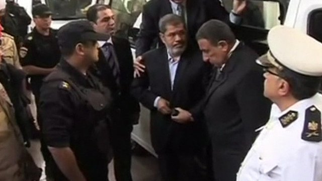 Egyptian television showed footage of Mohammed Morsi arriving at court