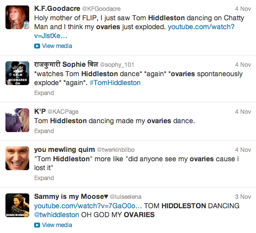"Results search of ""Hiddleston Ovaries"" on Twitter."