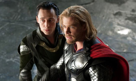 "Chris Hemsworth and Tom Hiddleston play Thor and Loki in ""Thor: The Dark World."""