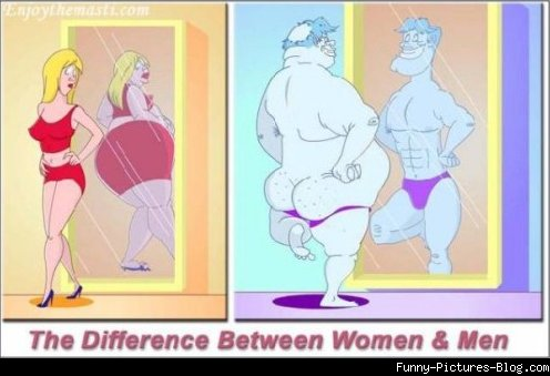 Women also perceive self image differently than men do.