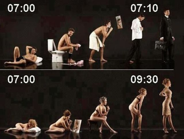 Men take a lot quicker to get ready as compared to women.