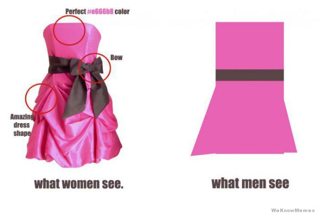 Women see #e666b8 coloured dress with bow detail and amazing dress shape while men see pink dress.