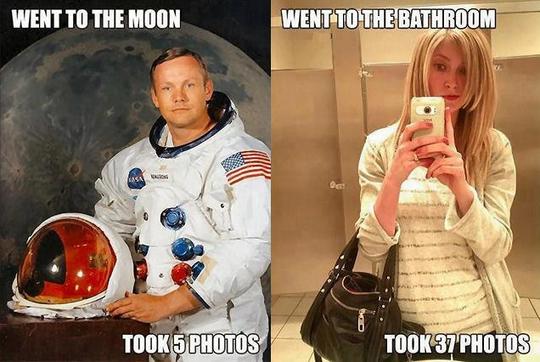 Man goes to moon, takes 5 photos; woman goes to bathroom, takes 37 photos.