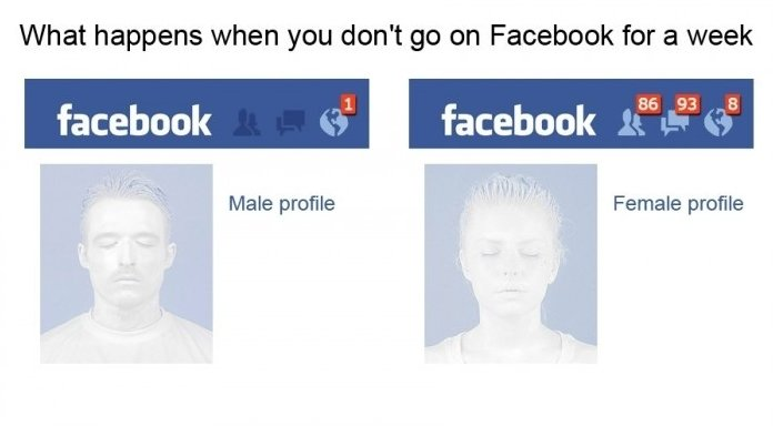 Man doesn't log onto Facebook for a week, gets one notification; woman doesn't log on for a week, gets...