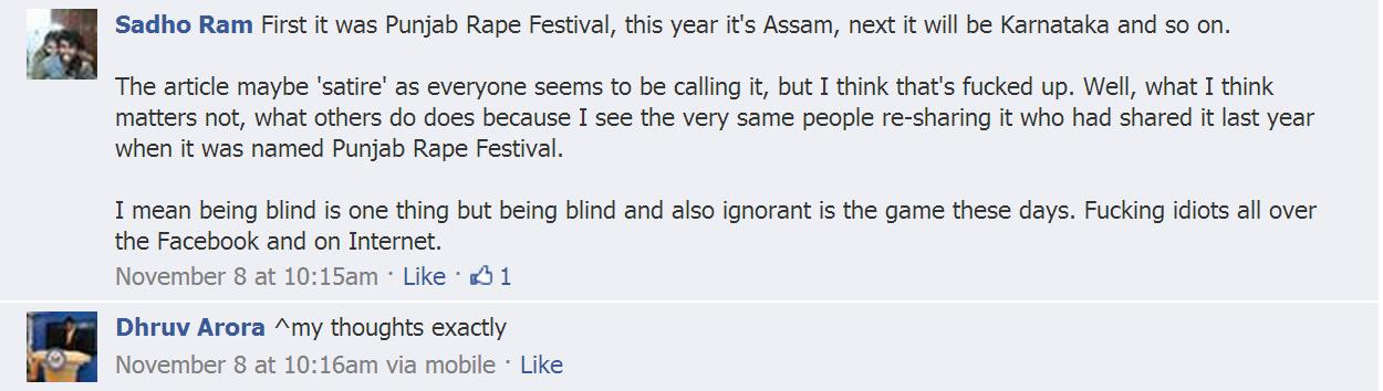 Another response of another Facebook user.