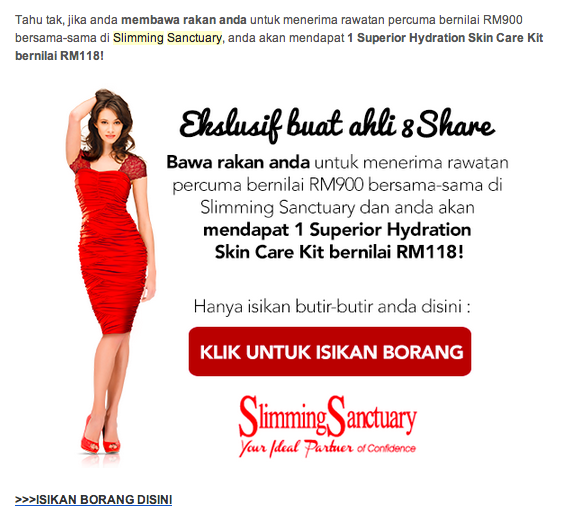 Not a SAYS or 8Share.com user yet? Sign up now to treat your friend to RM900 worth of treatment.