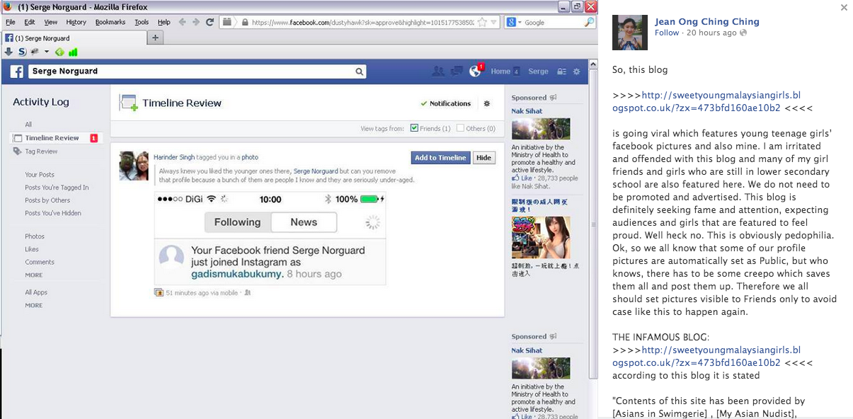 Victim of Sweet Young Malaysian Girls blog, Jean Ong Ching Ching, accuses Serge Norguard via Facebook.