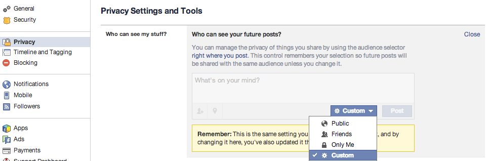 """The first major change can come with changing future posts away from public to friends or friends of friends (or a custom audience group curated by yourself). To do this, go into your privacy settings and edit the """"Who can see your future posts?"""" area."""