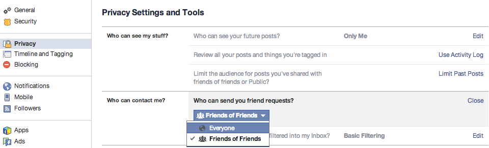"""You can also restrict who can send a friend request and who can send messages. Users can go into privacy settings and make it so they can't receive a friend request from a person unless they have a mutual friend. They can also tighten up the settings on their inbox so only messages from friends make it to the inbox, while others are kept in the """"other"""" box."""