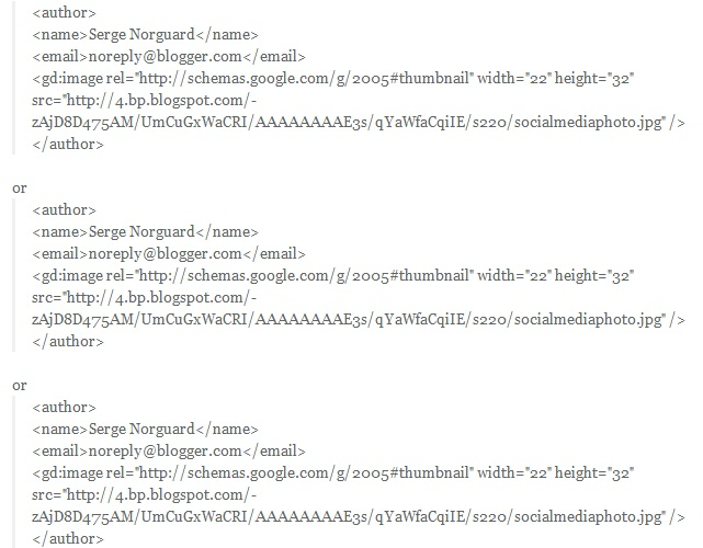 The author string found in the RSS XML feed.