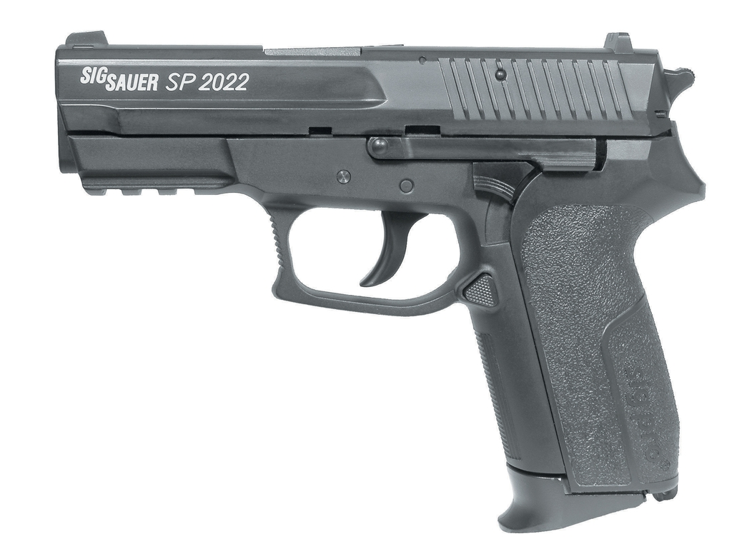 Photo illustration of a Sig Sauer SP2022 CO2 BB Gun in black.