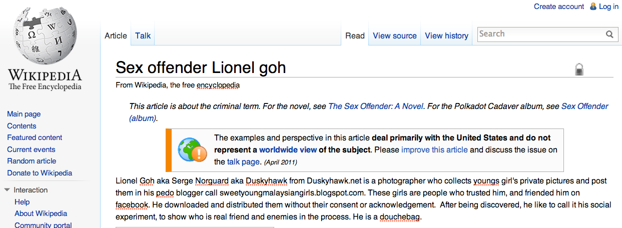 Wikipedia page of Lionel Goh created by Wesley Chang.