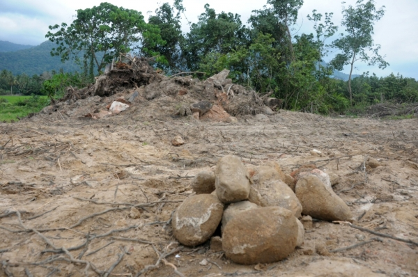 Purported debris of candi number 11 on the site where it once stood after it was demolished in Lembah Bujang, Kedah.