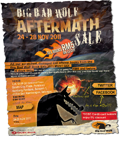 Flyer from a 2011 Big Bad Wolf Aftermath Sale.