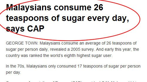 Malaysians consume 26 teaspoons of sugar everyday, according to a 2005 survey.