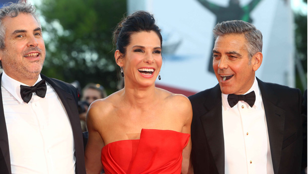 "Sandra Bullock and George Clooney at the 70th Venice Film Festival's ""Gravity"" premiere."