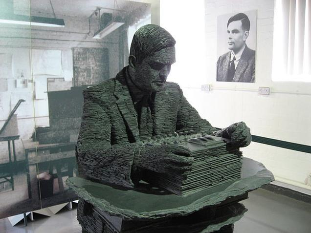 Turing in slate at Bletchley Park, Bletchley, in Milton Keynes, Buckinghamshire, UK.