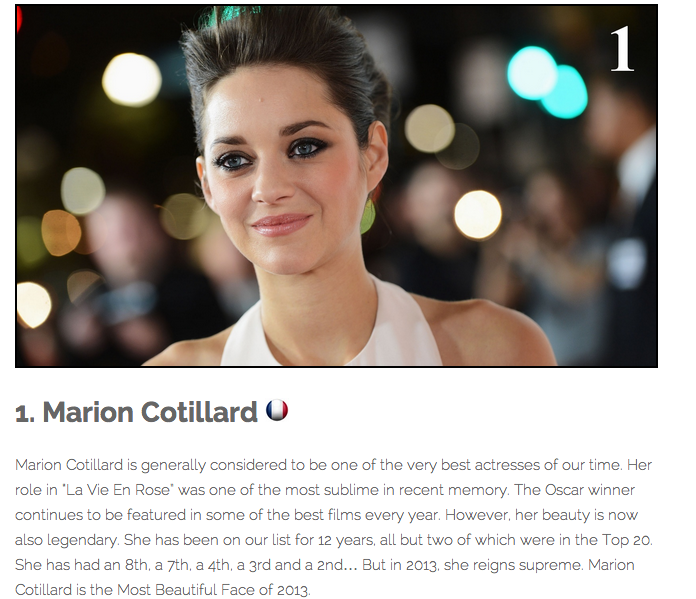 The Most Beautiful Of Them All Is Oscar-Winning Actress Marion Cotillard