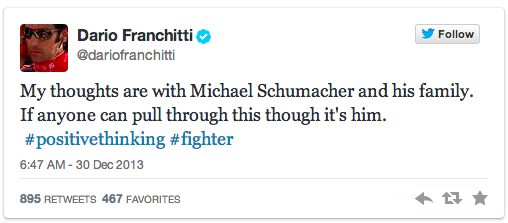 Scottish racing driver Dario Franchitti tweets about Michael Schumacher.