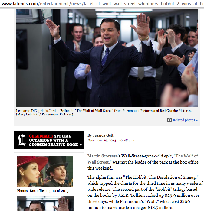"""A screen grab of the report on Martin Scrosese's """"The Wolf of Wall Street"""" on LA Times."""
