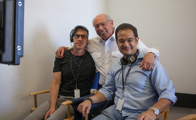 """Behind-the-scenes photos of """"The Wolf of Wall Street"""" with Joey McFarland, Irwin Winkler and Riza Aziz (R)."""